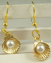 FAUX PEARL SHELL DANGLE EARRINGS    C/S & H AVAILABLE - $2.75