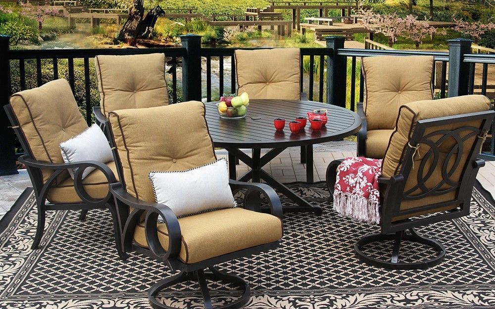 OUTDOOR PATIO 7PC DINING SET 60 Inch ROUND TABLE Series 4000