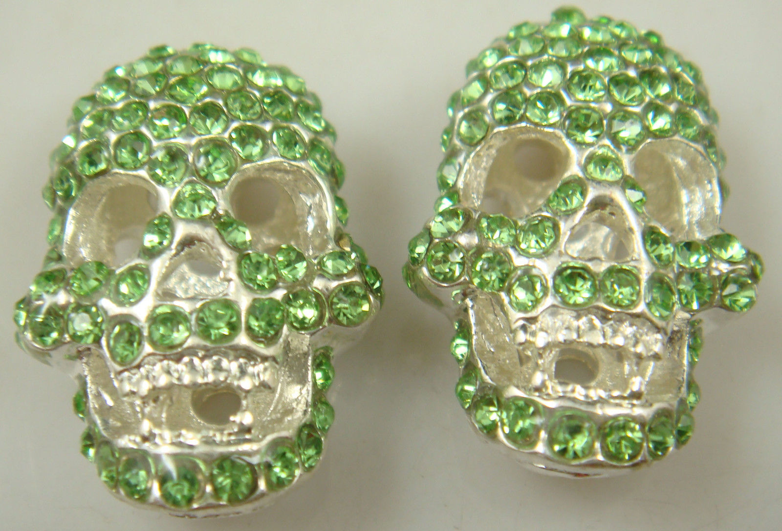 HOLLOW GREEN RHINESTONE SKELETON NECKLACE PENDANT ( ONE ONLY !!!! )  - $2.00