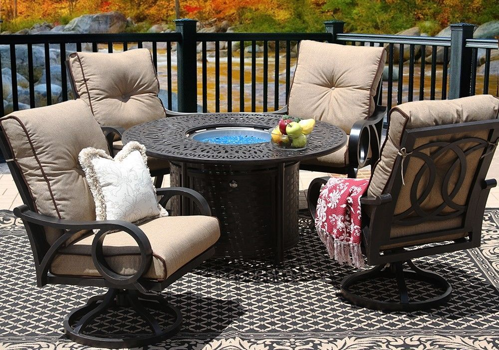 OUTDOOR PATIO 5PC DINING SET 52 Inch ROUND FIRE TABLE Series 2000