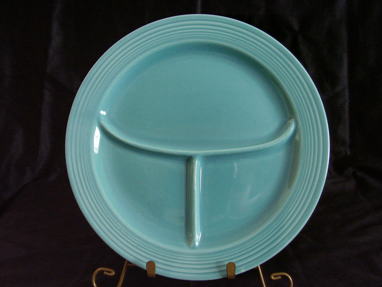 Vintage Fiestaware Turquoise Compartment Plate Fiesta