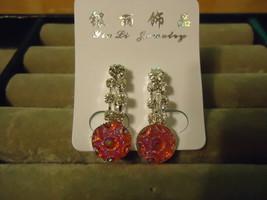 Silver Plated Pink Rhinestone Earrings  - $2.05