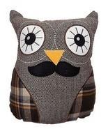 OWL MOUSTACHE FILLED CUSHION BROWN ORANGE HERRI... - $14.92
