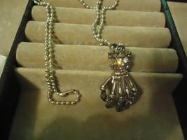 Skeleton Hand Rhinestone Pendant Necklace  - $2.99