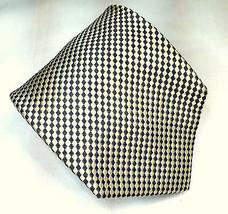 Joseph Abboud Silk Necktie Cream & Green Woven Squares Diagonal 62.5 in - $6.38