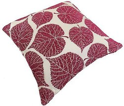 "LUXURY FLORAL LEAF TAPESTRY CHENILLE RED CREAM THICK CUSHION COVER 17"" #TAW - $9.46"