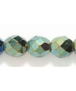 8mm Czech Fire Polish, Metallic Green Iris Glass Beads (25) - $1.75
