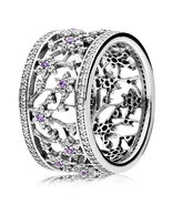 925 Sterling Silver Forget Me Not Ring & Pueple Zirconia For Women QJCB897 - $31.99