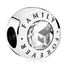 925 Sterling Silver Family Forever with Large Zirconia Charm Bead QJCB922 - $20.99