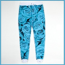 Blue Midnight Rose Floral Print Hollywood LA Jogger Lounger Sweat Pants (ONLY)
