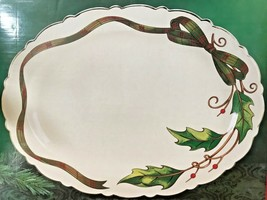 Home for the Holidays Holly Holiday Plaid Turkey Platter NIB Sealed NOS XM - $37.95