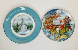 2 Vintage Avon Christmas Plates Decorative 1974 1993 Santa Church Reindeer Gold - $12.86