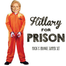 Hillary for Prison Adult Halloween Orange Prisoner Jumpsuit Mask Costume XL - £77.91 GBP
