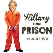 Hillary for Prison Adult Halloween Orange Prisoner Jumpsuit Mask Costume XL - $102.49