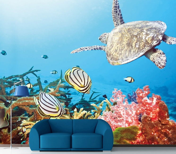 Free shipping underwater sea turtle coral and fish 3d for Turtle fish games