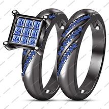 2 Pcs 14K Black Gold FN 925 Silver Round Cut Blue Sapphire Engagement Br... - $99.99