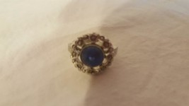 Vintage Round Rhinestone Heart Ring, Adjustable, Blue Lucite Stone, Silver Tone - $4.94