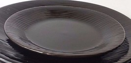 Gibson Designs Galacor China Dinnerware Brown Black, Embossed Salad Plate 7inch - $9.89