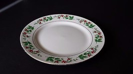 Gibson Christmas Holly Pattern China with Gold Trim Salad Plate - $9.89
