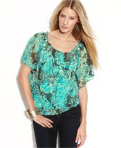 INC Paisley Print Flutter Sleeve Peasant Top with Camisole (Size Medium) - $35.99