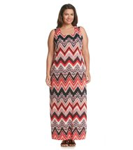 Notations Chevron Print Crochet-Back Plus Size Women's Maxi Dress (Size 1X) - $45.99