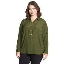 Michael Michael Kors Chain Lace Up Plus Size Top (Duffle Green, 2 X) - $65.99