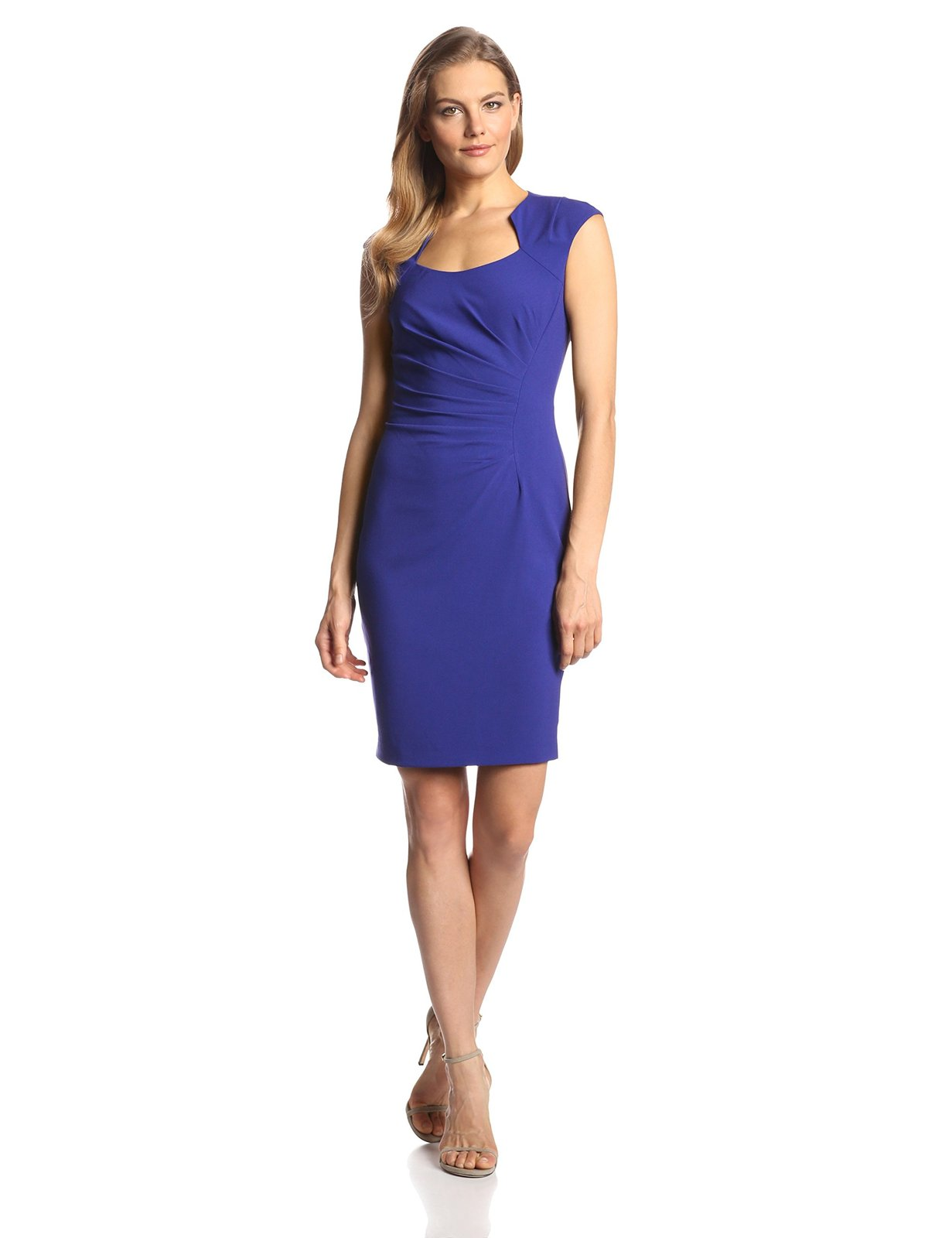 Calvin Klein Women's  Cap Sleeve Side Rouched Sheath Dress, Byzantine, 8