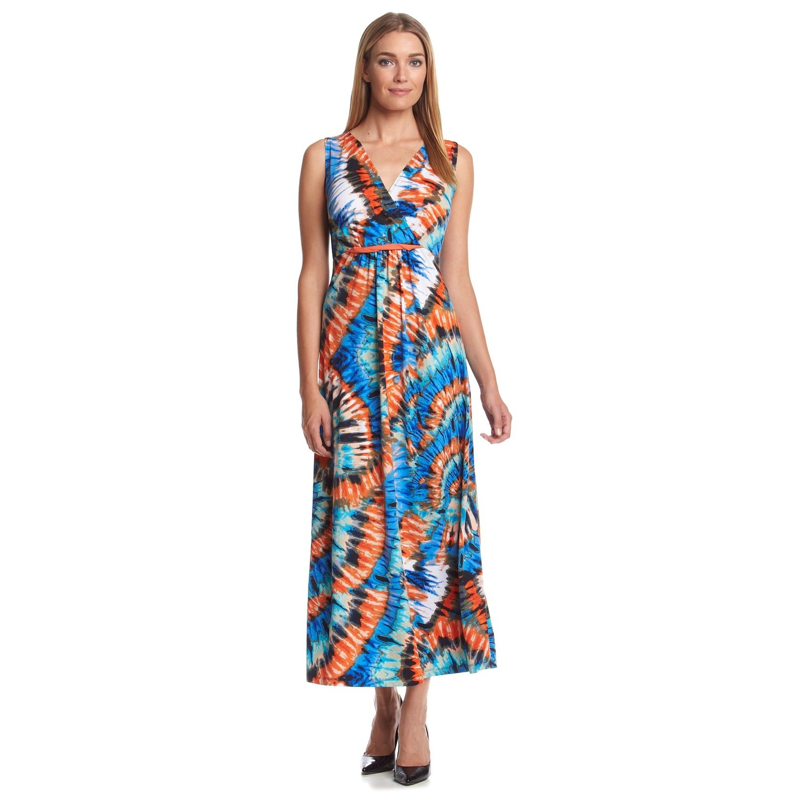Notations Twist-Front Tie-Dye Print Women's Maxi Dress (S)