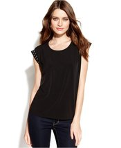 MICHAEL Michael Kors Women's Studded Pleated Top (Black, MEDIUM) - $40.99