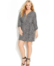 MICHAEL Michael Kors Plus Size Chain Tie Roll-Sleeve Dress (0X (12W), Bl... - $85.00
