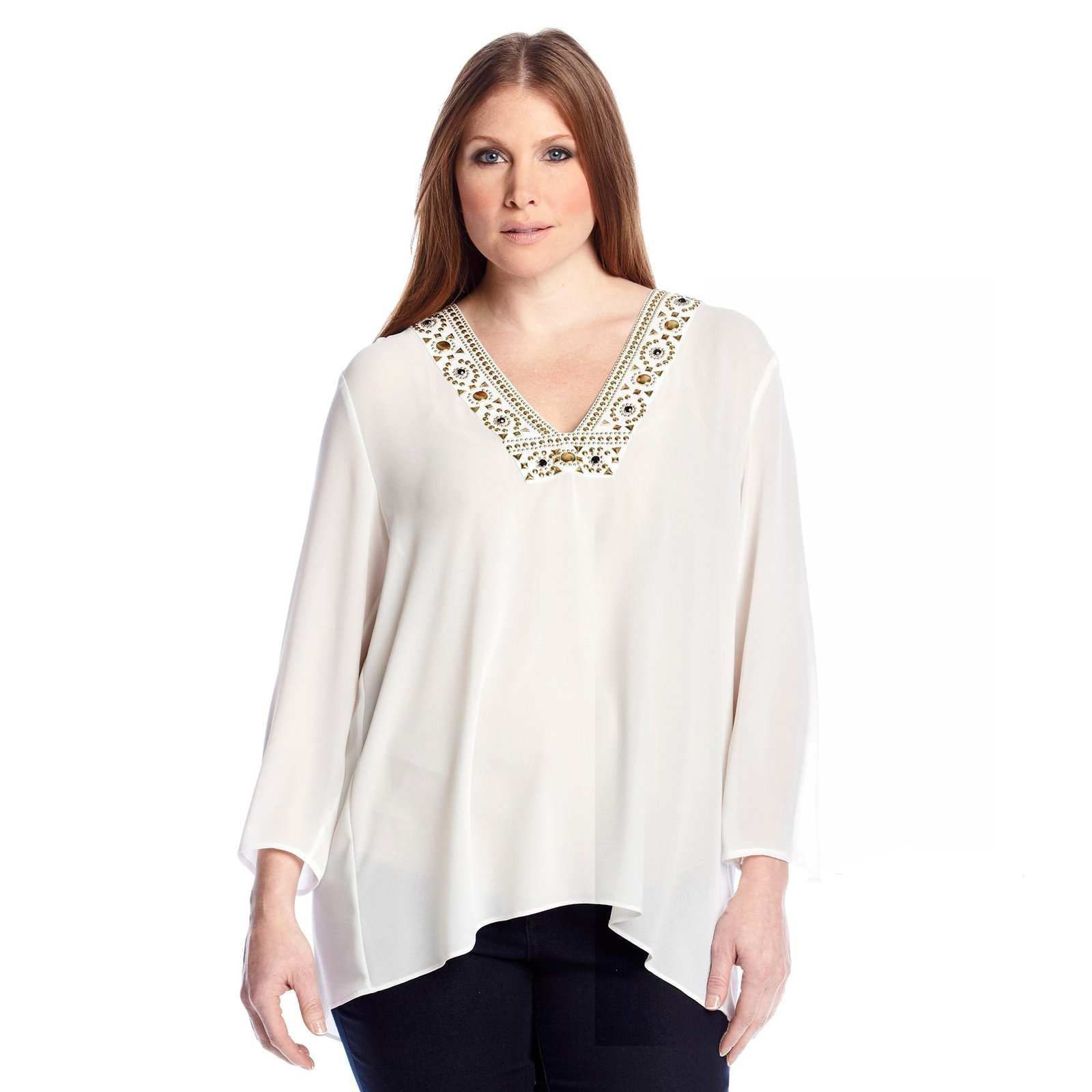 MICHAEL Michael Kors Embellished Neckline Plus Size Top (White) (3X) - $75.99