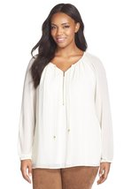MICHAEL Michael Kors Plus Size Zip-Front Tunic Long Sleeve Top (Cream, Size 1X) - $65.99