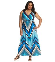 Notations Printed Twist-Front Sleeveless Plus Size Women's Dress (2X) - $45.99