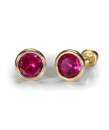14K Gold Stud Round Bezel Earrings for All Ages... - $14.69 - $33.32