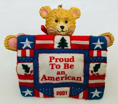 Proud To Be An American Bear with Quilt Christmas Ornament American Greetings - $14.50