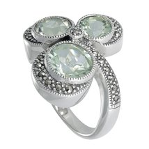 925 Silver Marcasite Ring with Natural Green Amethyst Gemstone (MR00585G... - £41.66 GBP