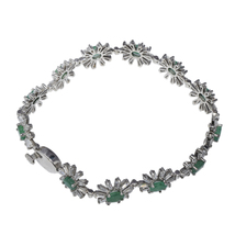 925 Sterling silver bracelet jewelry shining peridot and blue topaz gems... - $70.40