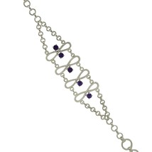 925 Sterling silver popular bracelet with shining amethyst solid gemston... - $60.00