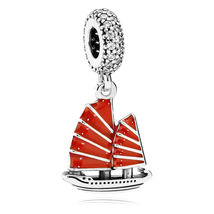 925 Sterling Silver Chinese Junk Travel Dangle Charm Bead & Red Enamel Q... - $20.99