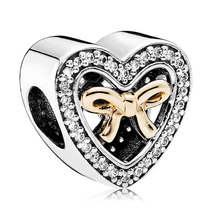 925 Sterling Silver & Real 14K Gold Bound by Love Charm Bead QJCB915 - $35.99