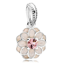 925 Sterling Silver Blooming Dahlia Charm Bead with Enamel and Pink Cz Q... - $19.99