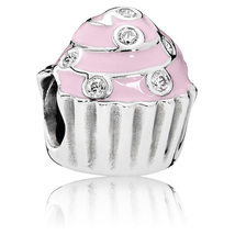 925 Sterling Silver Sweet Cupcake Charm Bead with Pink Enamel QJCB906 - $20.88