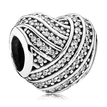 925 Sterling Silver Love Lines Charm Bead with Clear Zirconia QJCB905 - $21.98
