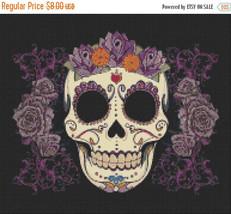 Sugar Skull - pop art - 193 x 167 stitches - Cross Stitch Pattern L776 - $3.99