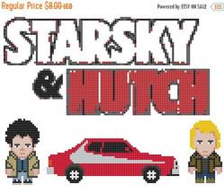 Pixel Starsky & Hutch - 122 x 94 stitches - Cross Stitch Pattern L595 - $3.99