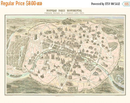 Antique map of Paris 1860 - 496 x 365 stitches - Cross Stitch Pattern L277 - $3.99