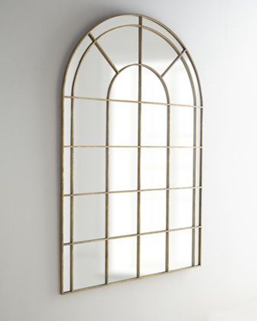 Palladian 71 arched gold wall leaner mirror architectural for Gold window mirror