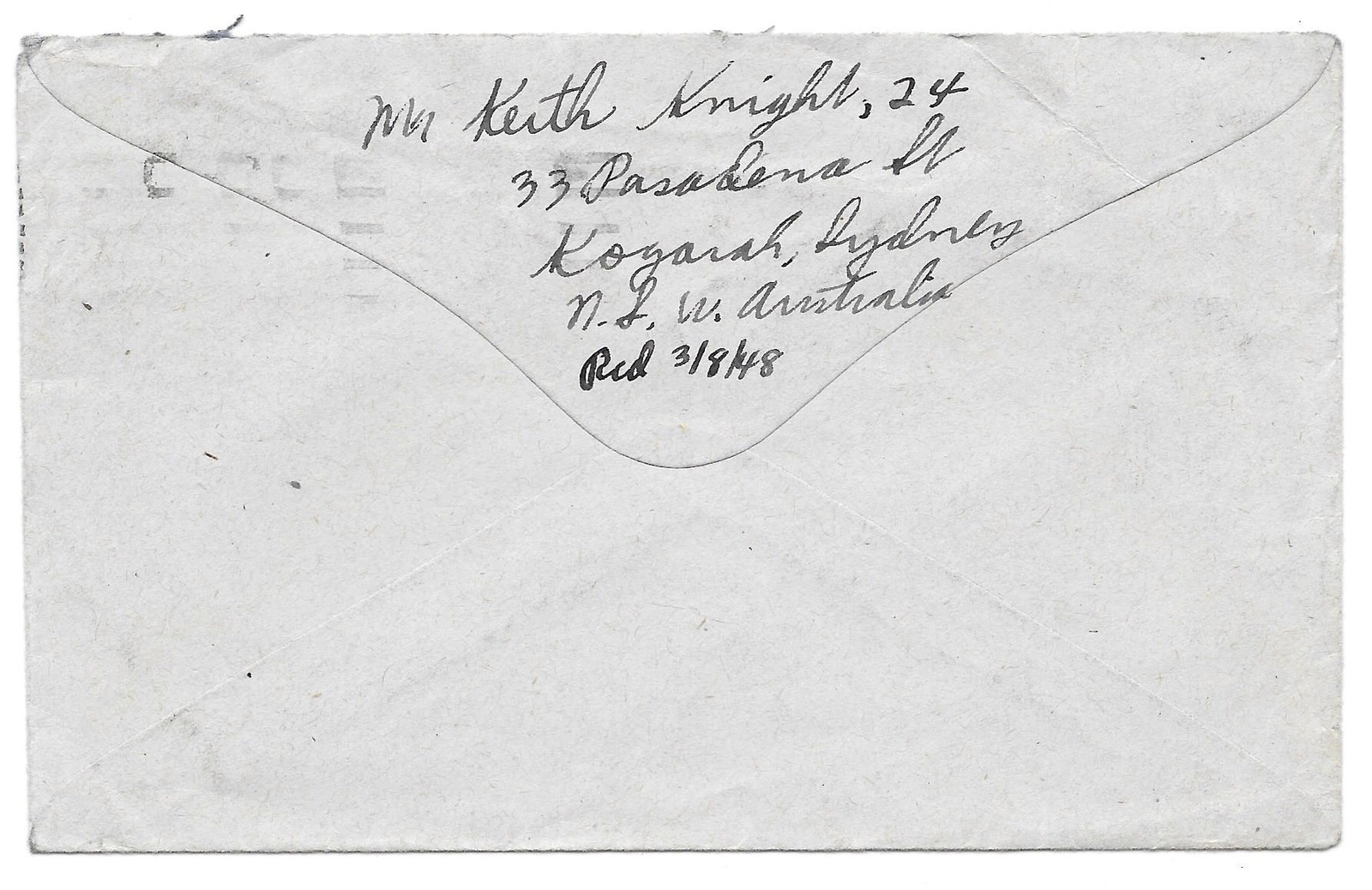 Australia NSW Sydney Posted in Overseas Box Postmark Machine Cancel 1948 Cover