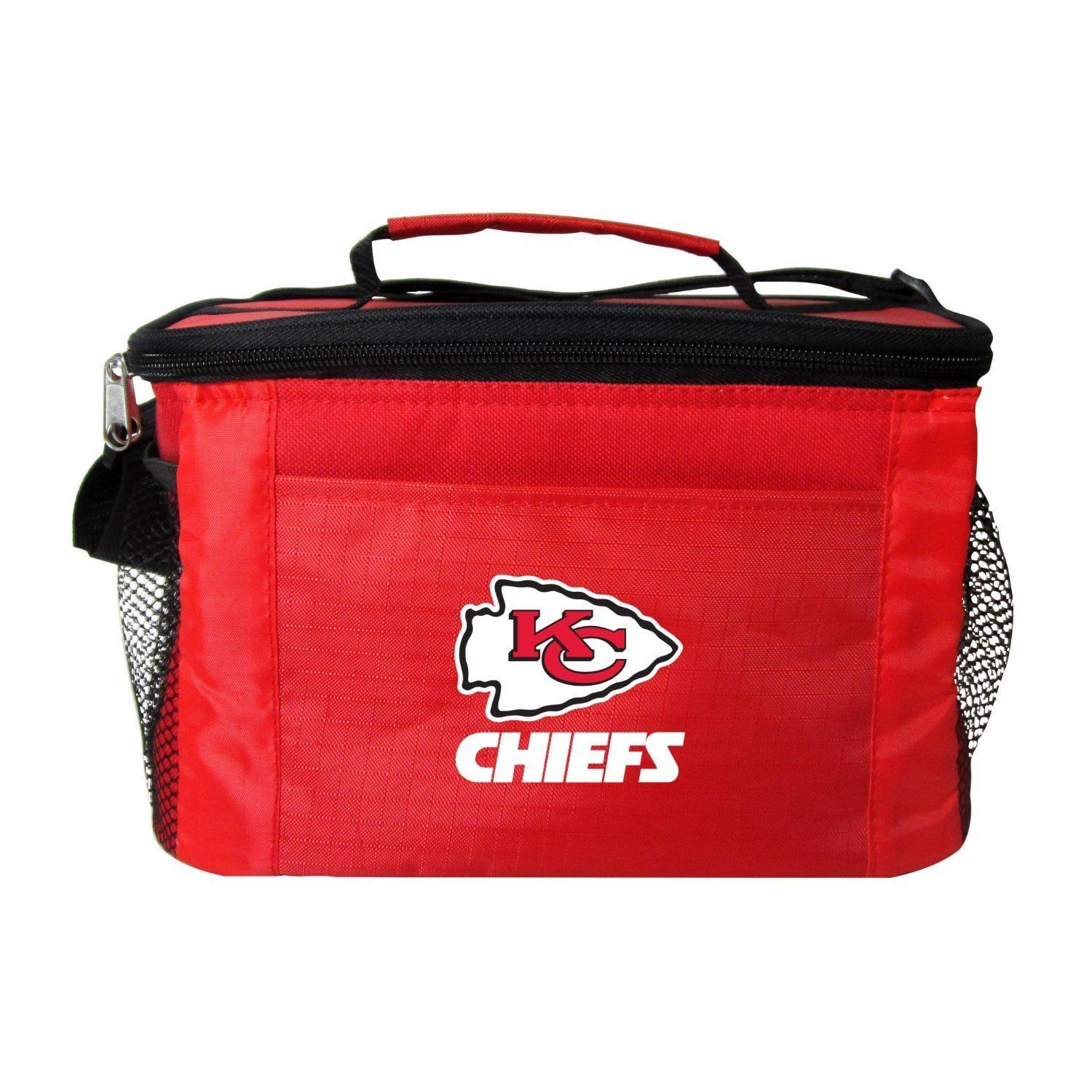 KANSAS CITY CHIEFS LUNCH TOTE 6 PK BEER SODA CAN TEAM KOOLER BAG NFL FOOTBALL