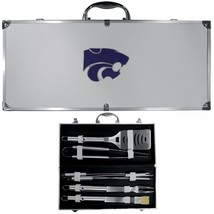 kansas state wildcats 8 pc tailgater stainless steel bbq set with metal ... - $126.34